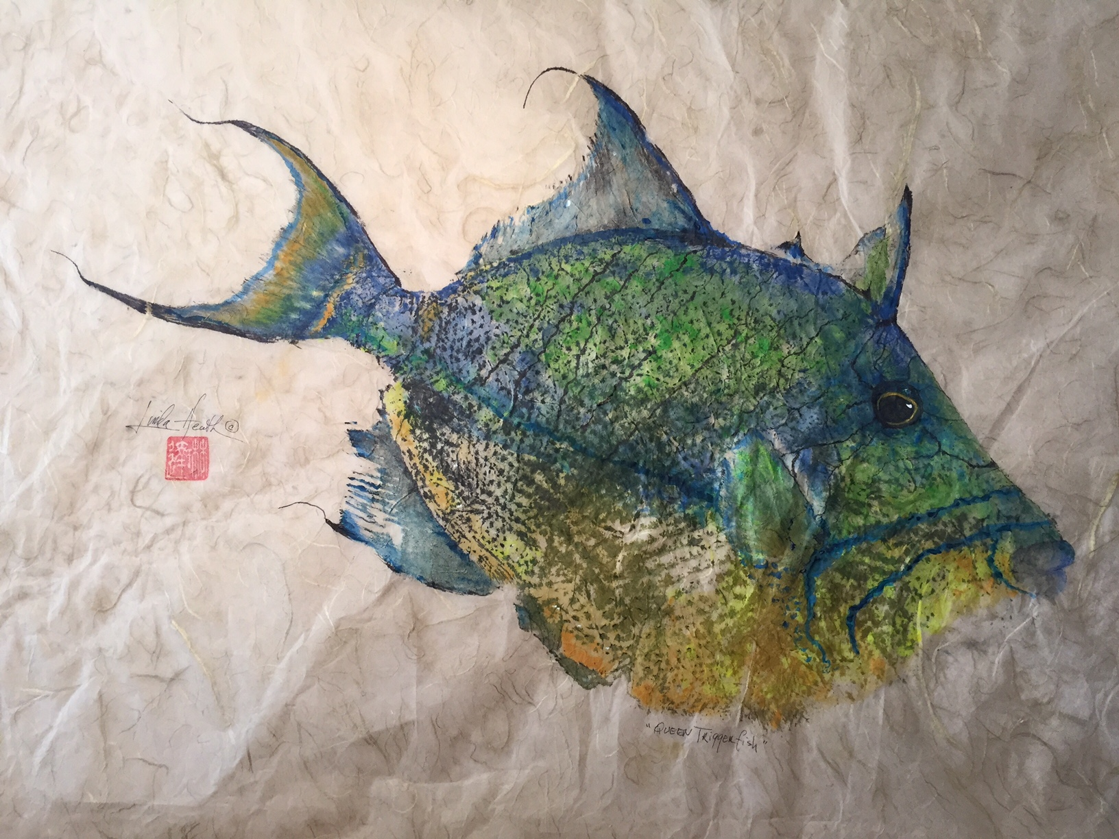 Original Queen Triggerfish by Linda Heath